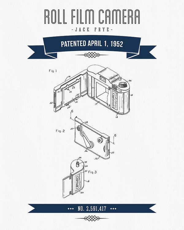 600x749 1952 Roll Film Camera Patent Drawing