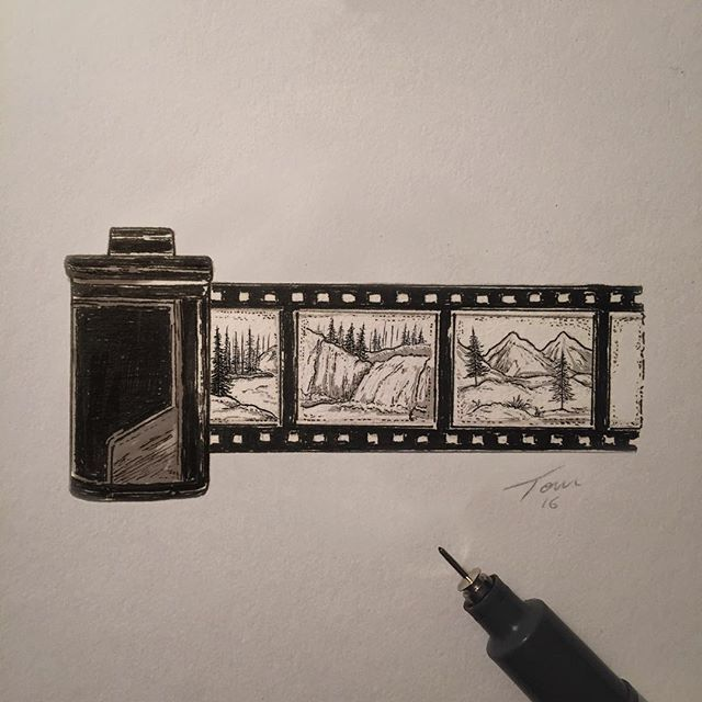 640x640 Film Roll Illustration, With Some Tiny Landscapes. Drawing