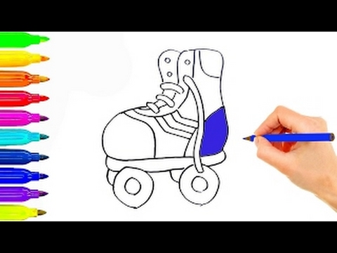 480x360 How To Draw Simple Roller Skates Coloring Learning Videos