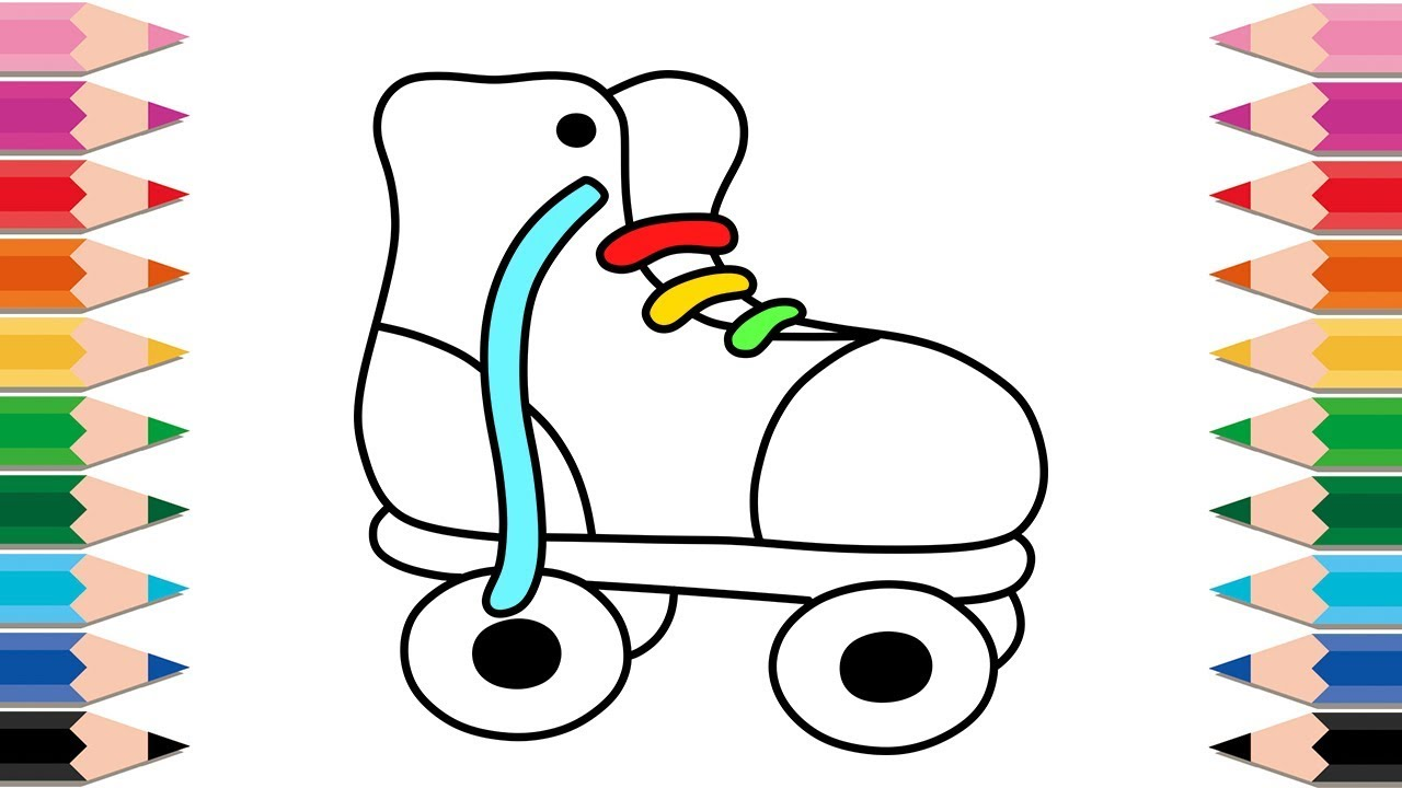 1280x720 How To Draw Roller Skates For Kids Drawing And Coloring Pages