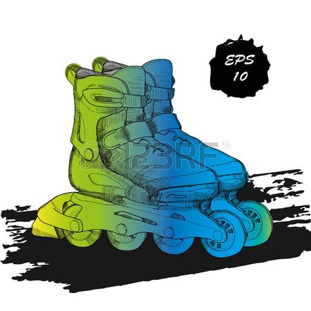 450x450 Vector Illustration Of Roller Skates. Isolated Object For Logo