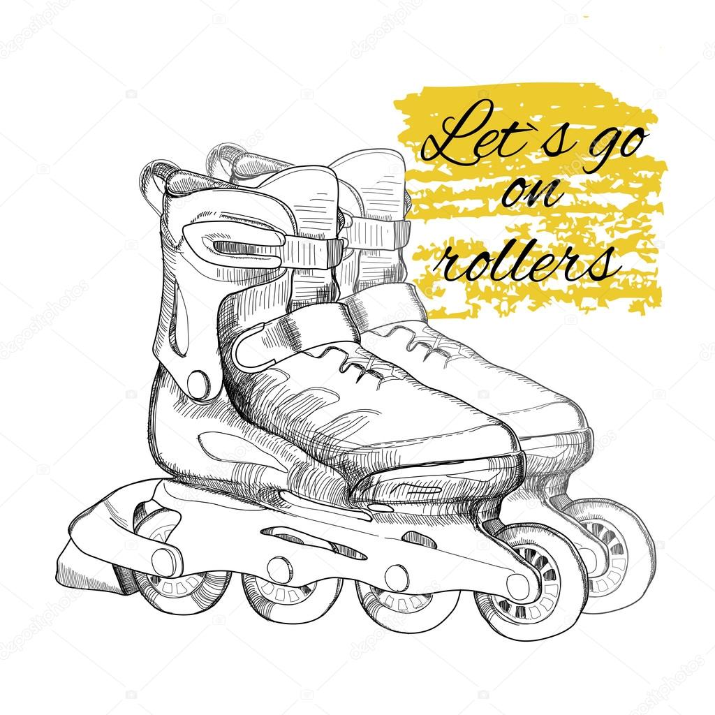 1024x1024 Hand Drawn Roller Skate. Graphic Object For Sport. Stock Vector