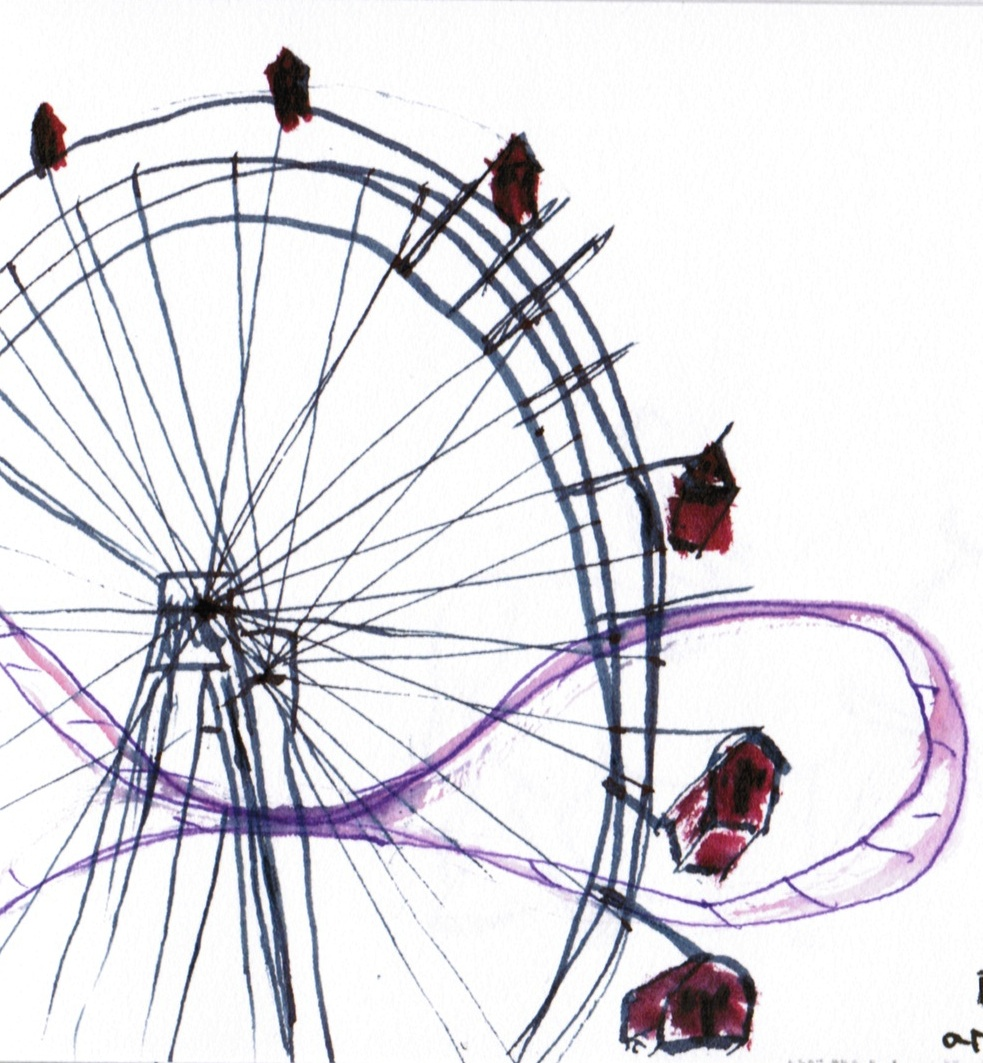 983x1063 Urban Sketchers S.f. Bay Area Prater's Riesenrad With Roller Coaster