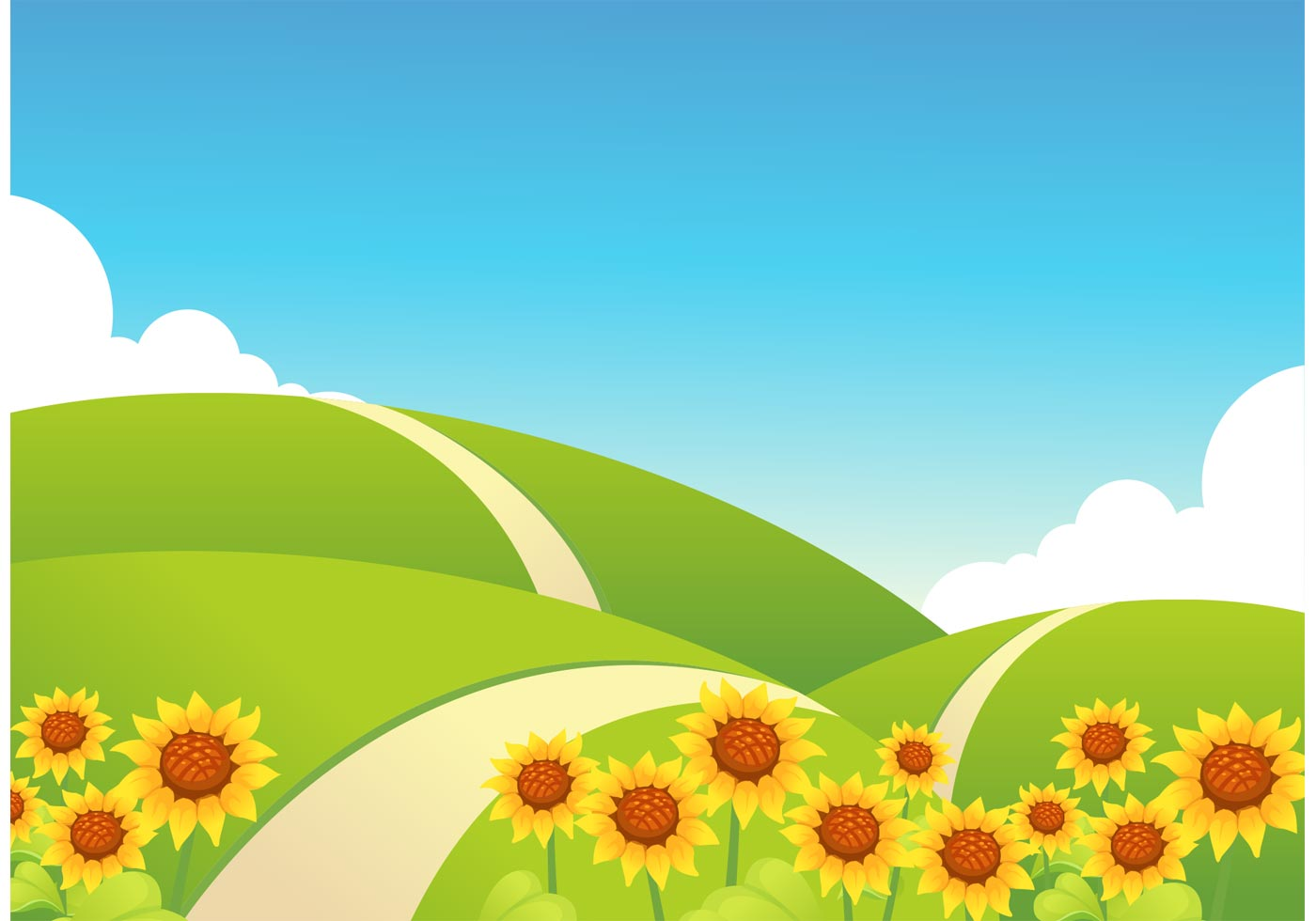 1400x980 Free Rolling Hills With Sunflowers Vector