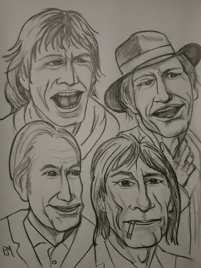 677x900 The Rolling Stones Drawing By Pete Maier