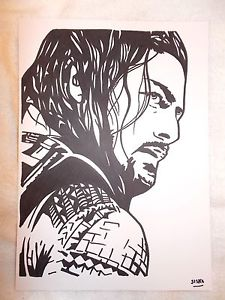 225x300 A4 Black Ink Marker Pen Sketch Drawing Wrestler Roman Reigns Ebay