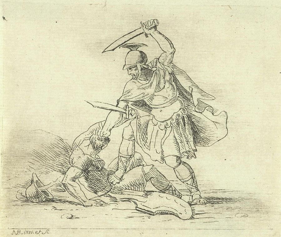 900x761 Two Roman Soldiers Fighting Each Other, Antonis Aloisius Drawing