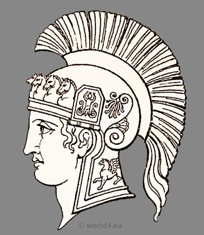696x800 Roman Helmet Drawing