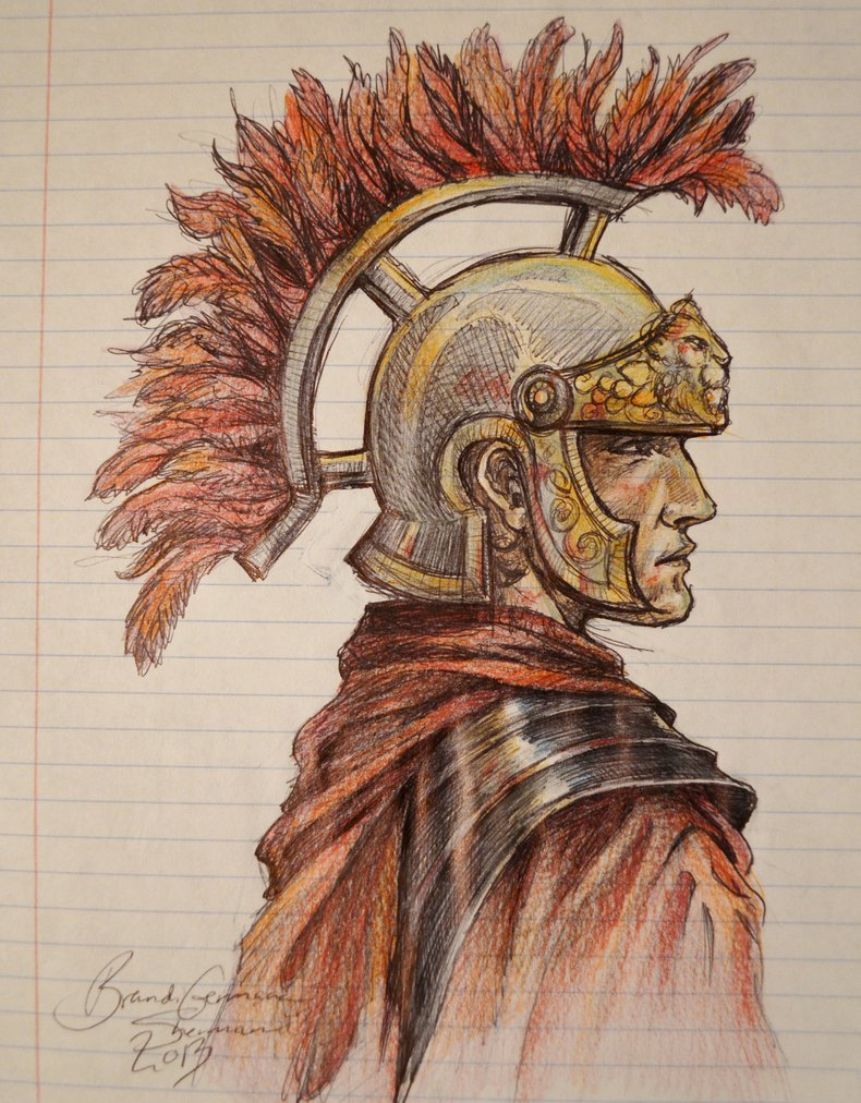 790x1012 Roman Warrior Drawing