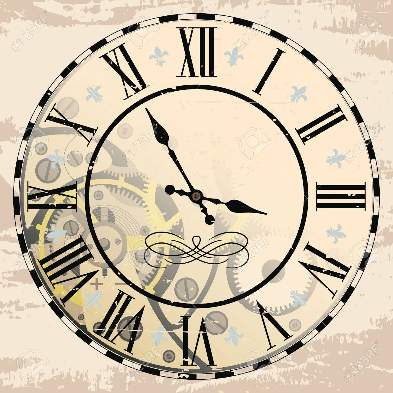 1300x1300 Vintage Roman Numeral Clock With Mechanism. Vector Drawing