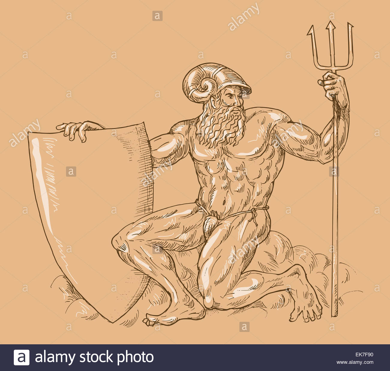 1300x1237 Roman God Neptune Or Poseidon With Trident And Shield Stock Photo