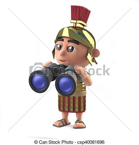 450x470 3d Roman Soldier Using Binoculars. 3d Render Of A Roman Stock