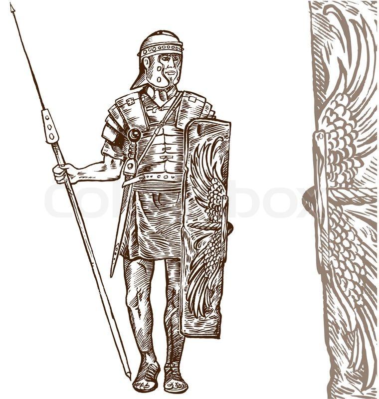 760x800 Roman Warrior Hand Draw On White Background Stock Vector Colourbox