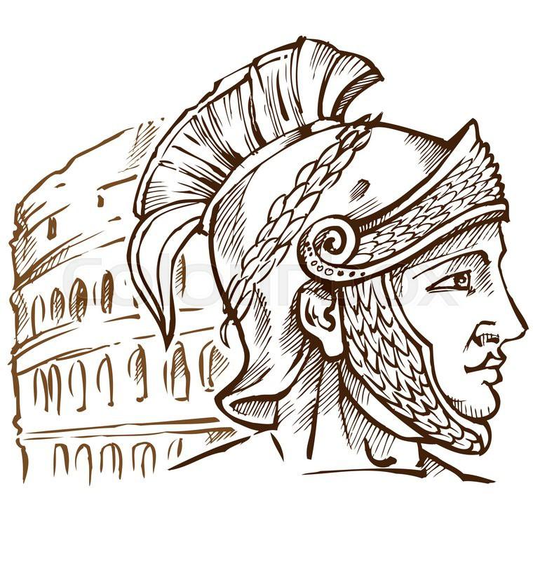 760x800 Roman Warrior On Colosseum Background Stock Vector Colourbox