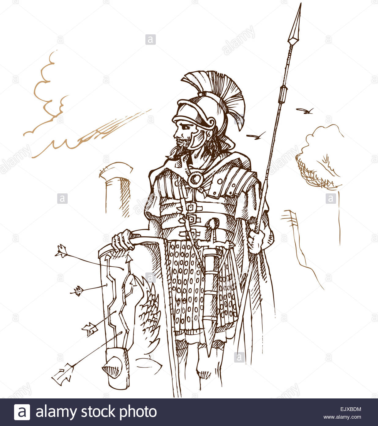 1235x1390 Roman Warrior Hand Draw On Background Stock Photo, Royalty Free
