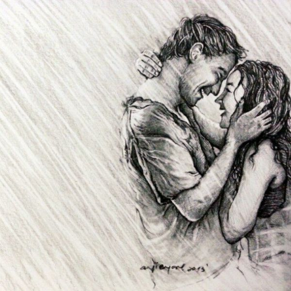 600x600 40 Romantic Couple Pencil Sketches And Drawings Romantic Couples