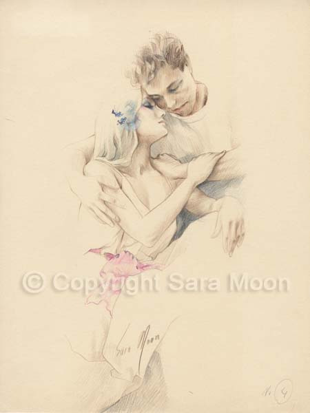 450x600 sara moon pencil drawing romance for sale