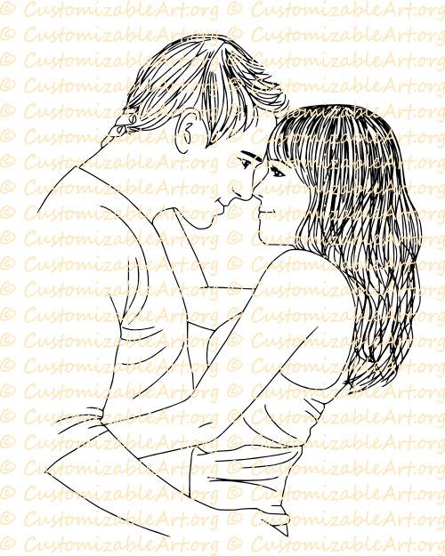 500x625 Couple Digi Stamp Digital Stamp Romantic Drawing Man Woman