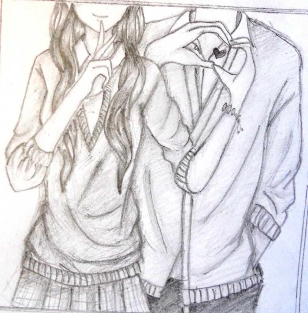1007x1024 Cute Romantic Drawings Pencil Anime Simple Couples Drawings
