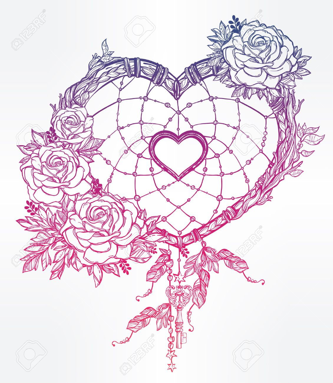 1130x1300 Hand Drawn Romantic Drawing Of A Heart Shaped Dream Catcher