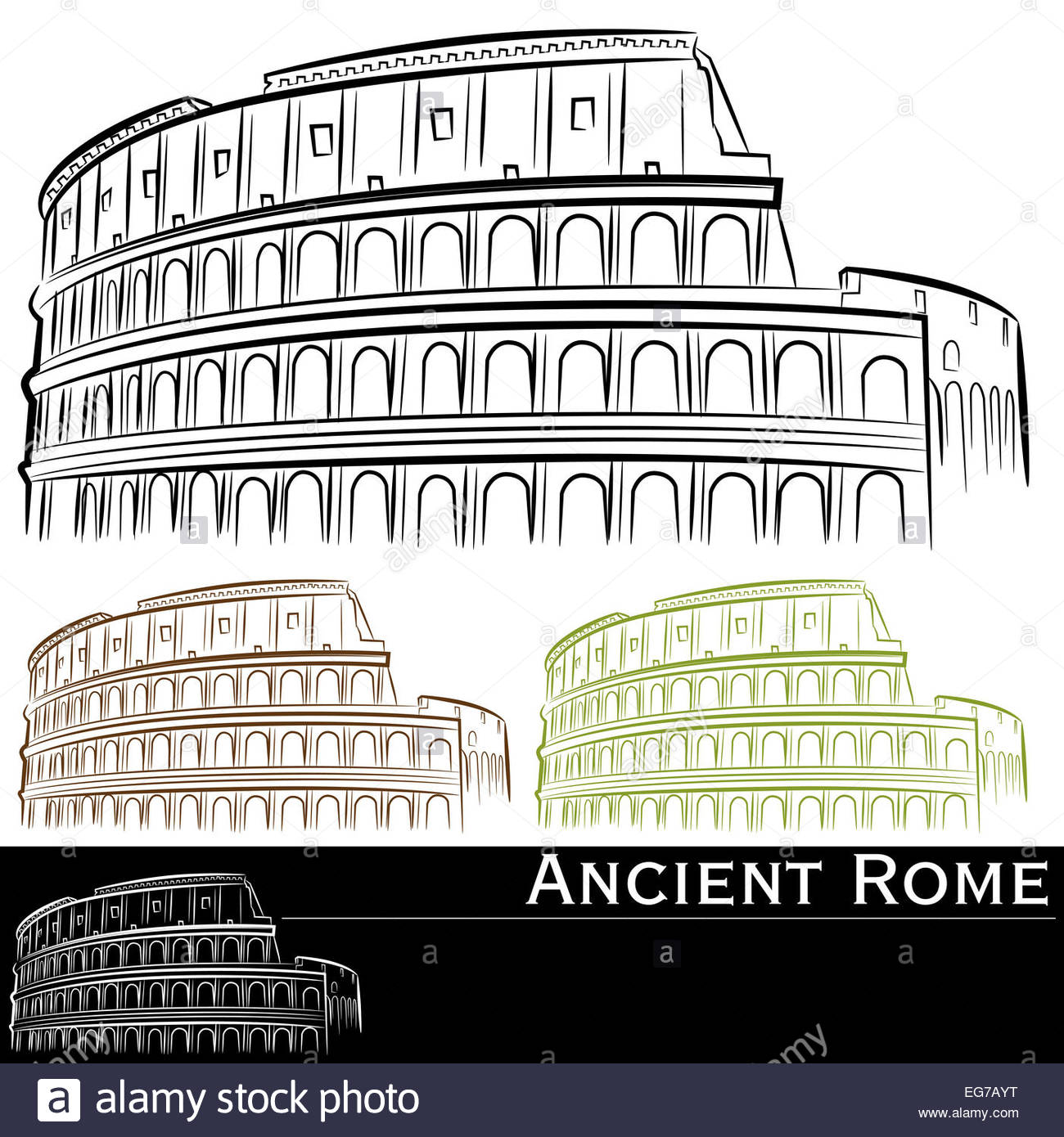 1300x1390 An Image Of Roman Colosseum Drawing Set Stock Photo 78838252