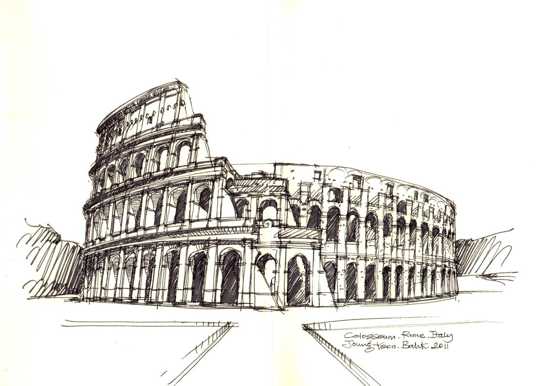 1100x790 Colosseum, Rome, Italy Sketch By Joungyeon, Bahk (Grid