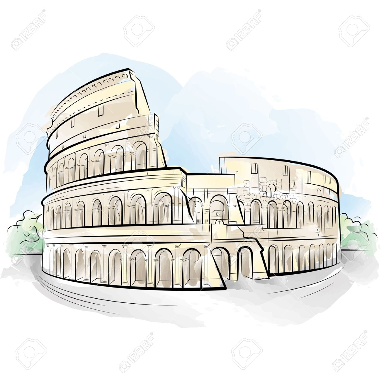 1300x1300 Drawing Color Colosseum, Rome, Italy. Royalty Free Cliparts