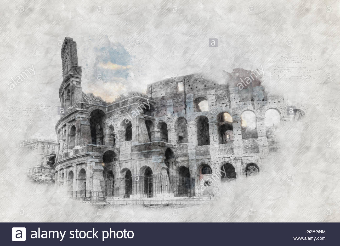 1300x941 Hand Drawing Or Sketch Of The Colosseum In Rome Stock Photo