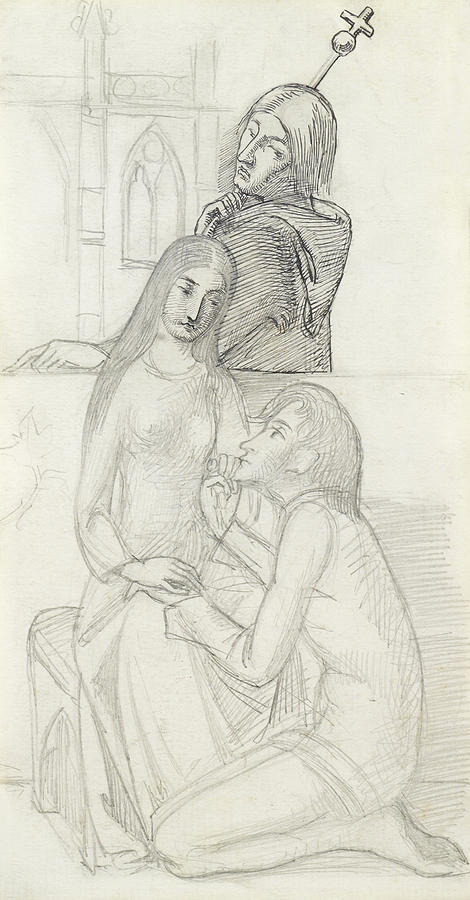 470x900 Romeo And Juliet, With Friar Lawrence Drawing By Simeon Solomon