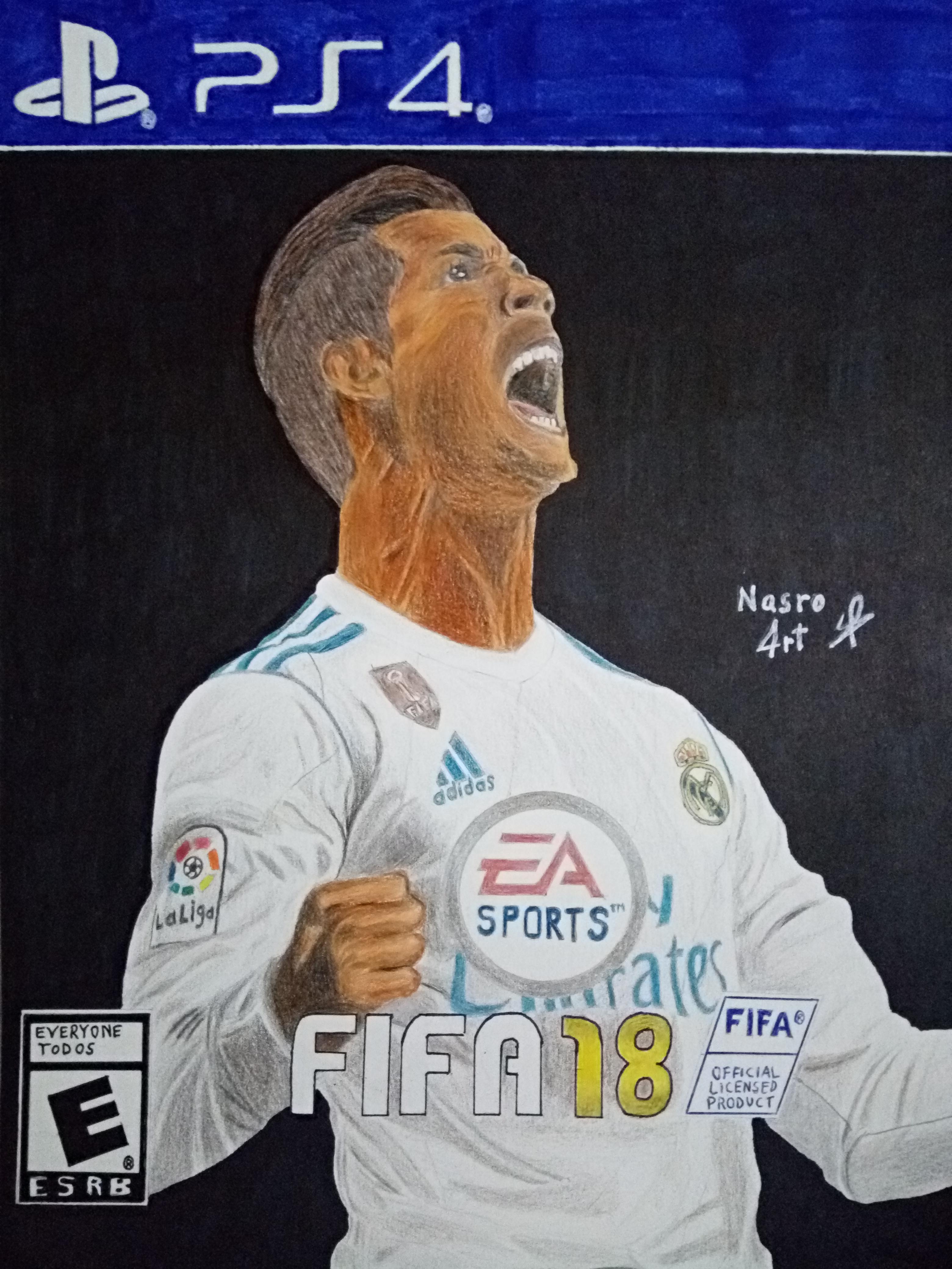 3120x4160 Drawing Cristiano Ronaldo Fifa18 Cover