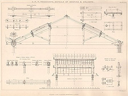 450x338 Victorian Engineering Drawing. O. W. W. Workshops. Roofing
