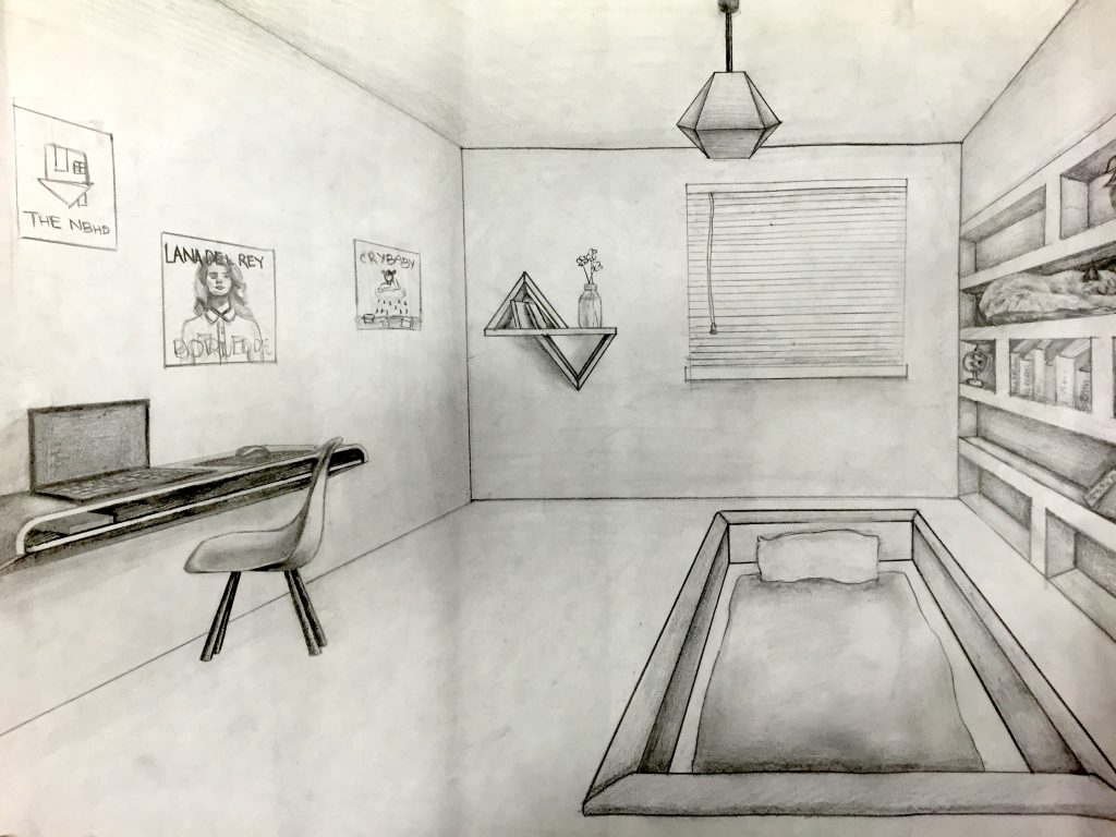 1024x768 One Point Perspective Room Drawing Jennifer Chen