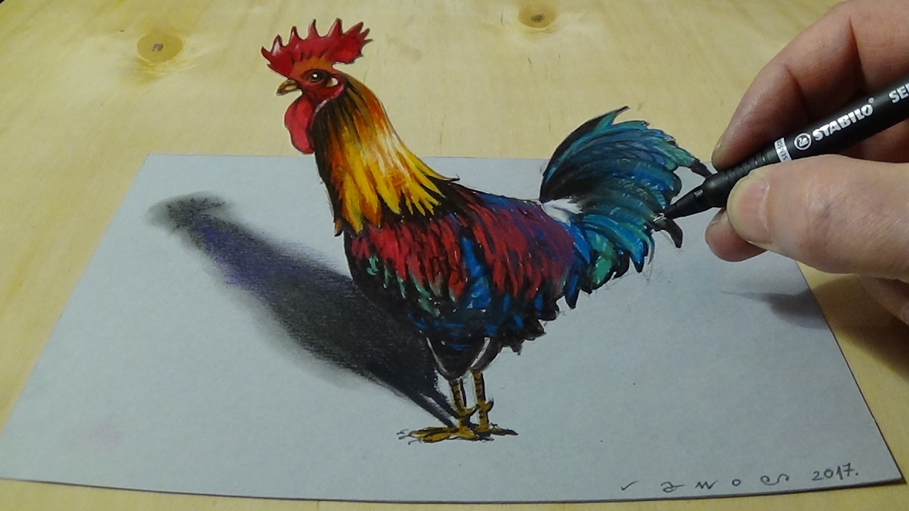 1280x720 Drawing Anamorphic Rooster For Kids Amp Adults
