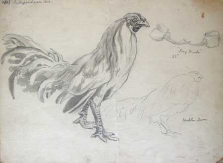 450x329 Fighting Rooster Studies For 1938 Cock Fight