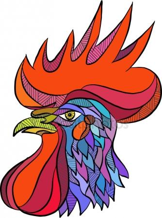 334x450 Chicken Rooster Head Side Drawing Stock Vector Patrimonio