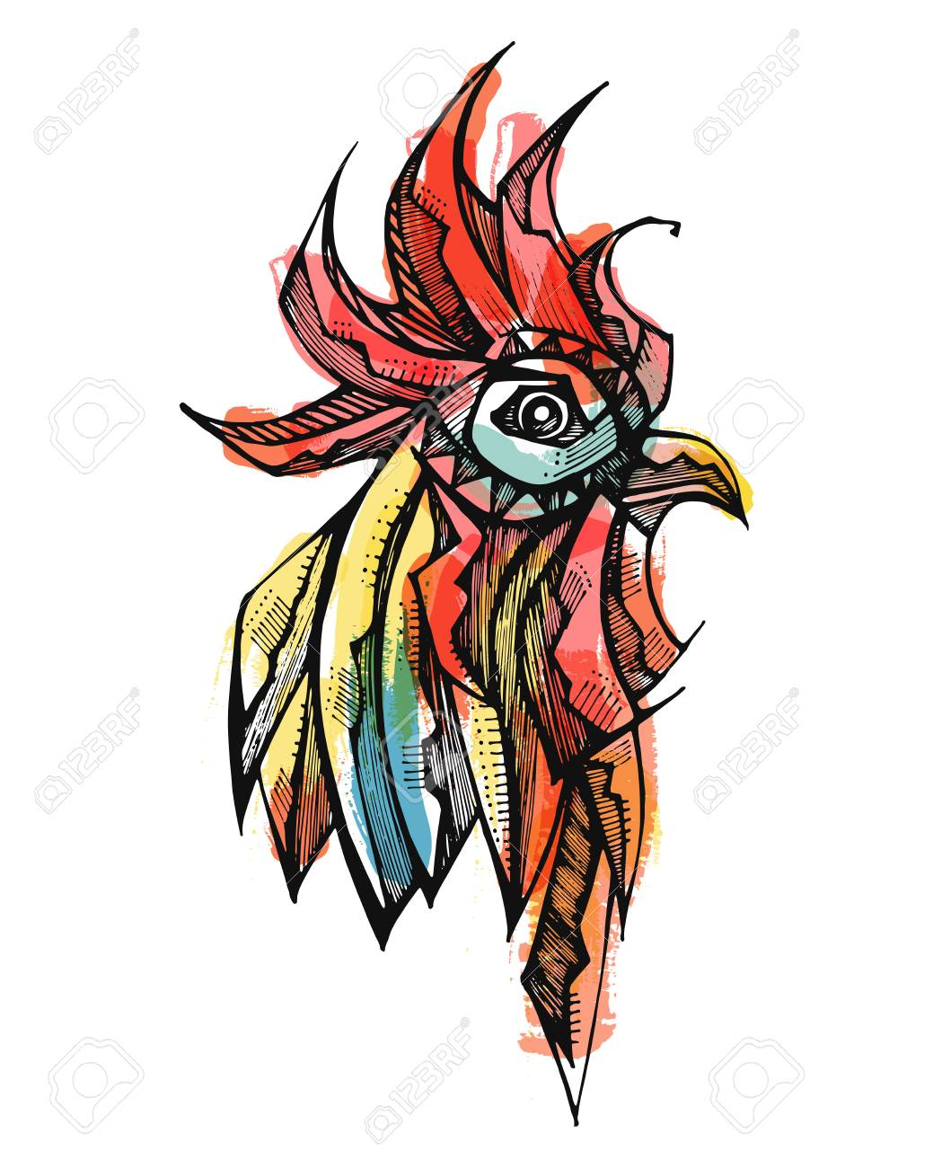 1039x1300 Hand Drawn Vector Illustration Or Drawing Of A Rooster Head