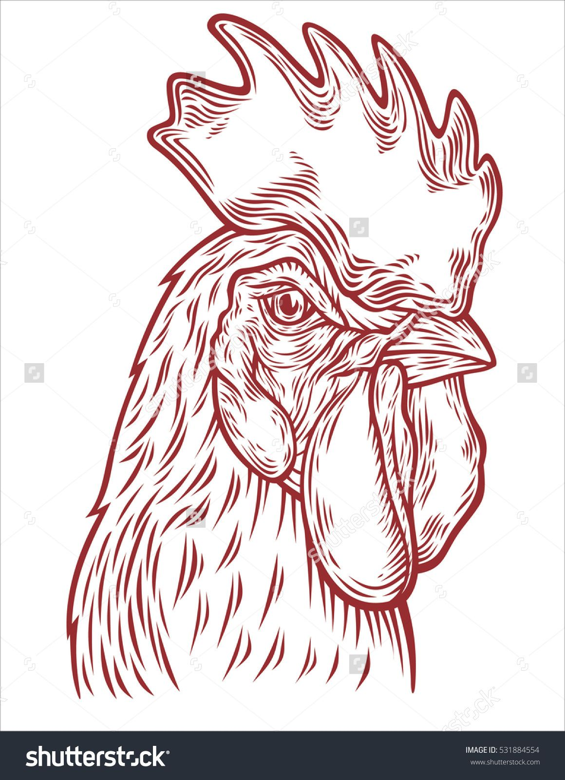 1160x1600 Hand Drawn Rooster Head Vector Illustration. Sketch Chicken
