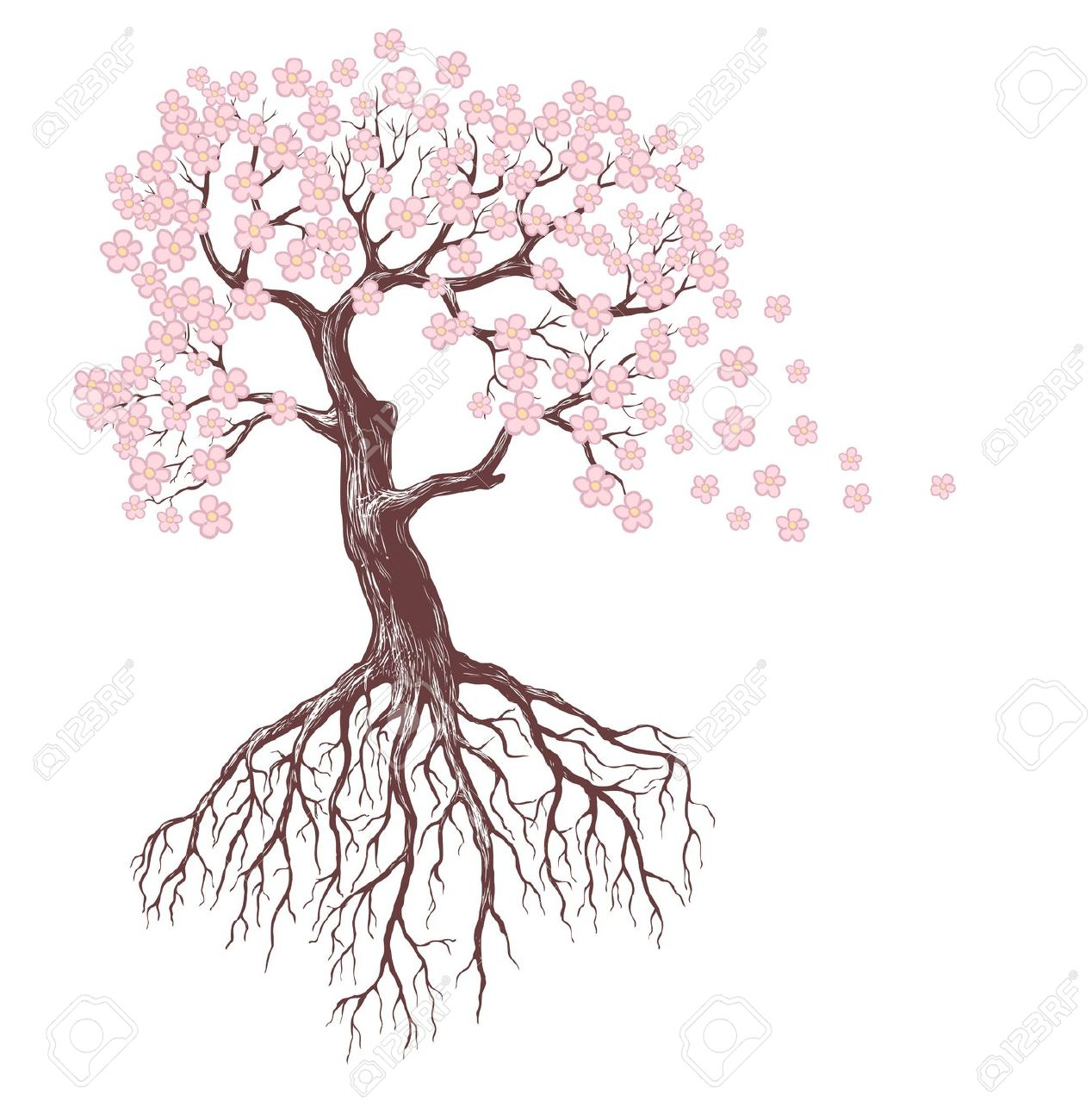 1268x1300 11877645 Spring Tree With Pink Blossoms Stock Vector Tree Root
