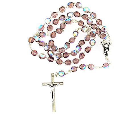 450x399 Catholic Purple Rosary With Crystal Glass Beads Made