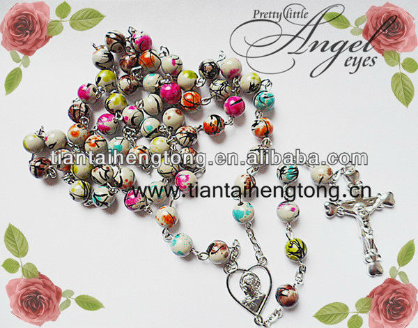 600x470 8mm Plastic Coloured Drawing Bead Rosary Necklace