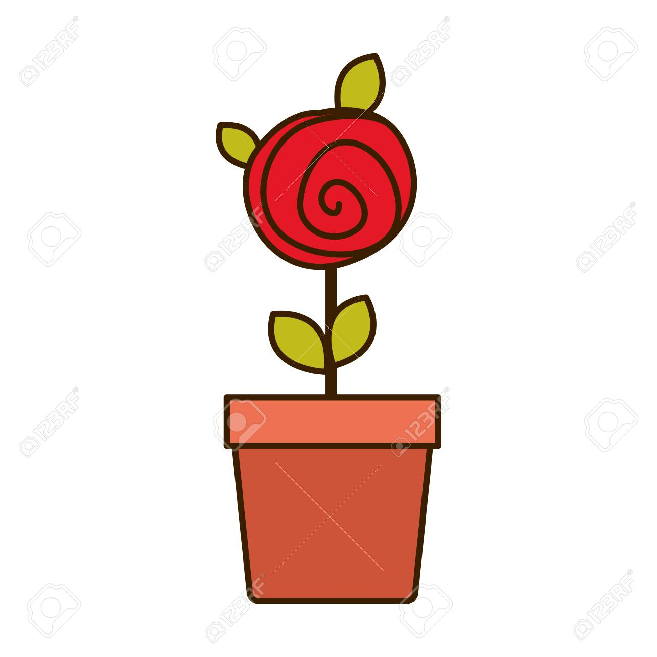 1300x1300 Colorful Drawing Red Rose With Leaves And Stem In Flowerpot Vector