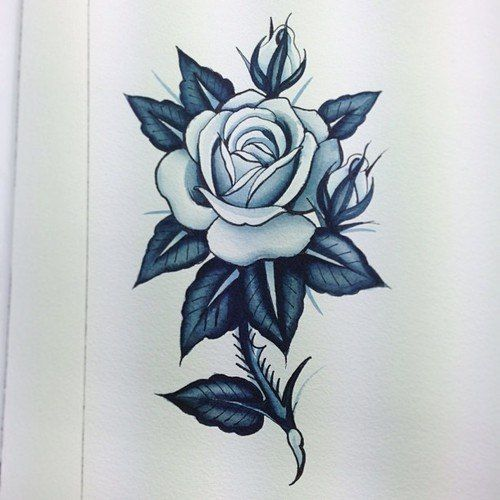500x500 Rose With Thorns Tattoo Drawing Thorn Stem Rose Tattoo Design Best
