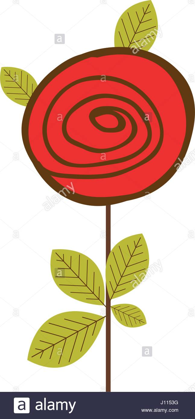 647x1390 Colorful Drawing Red Rose With Leaves And Stem Stock Vector Art