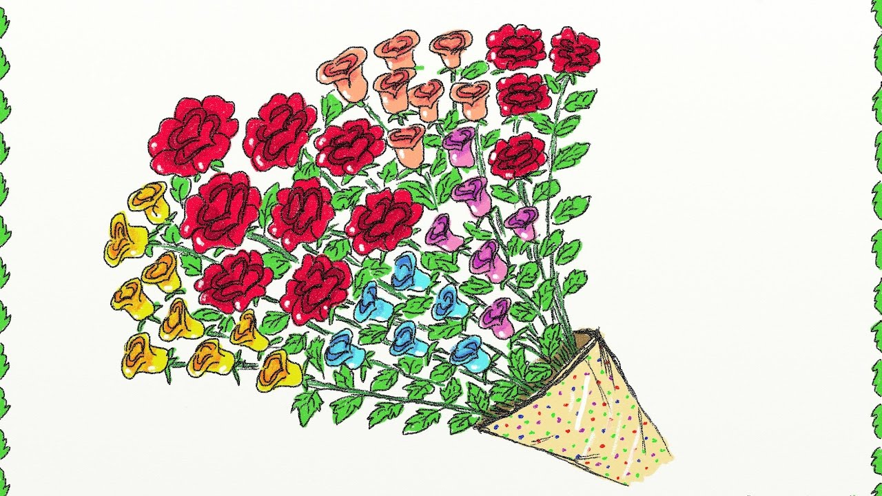 Rose Bouquet Drawing at GetDrawings.com | Free for personal use Rose ...