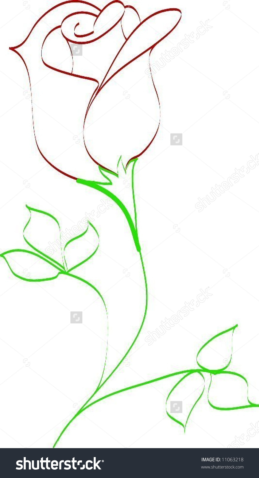 868x1600 Drawing A Rose Bud Simple Line Drawing Rose Bud Stock Vector