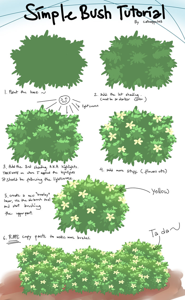 702x1138 Bush Tutorial By Catnappe143 Artwork Tutorials