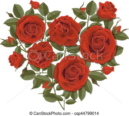 450x407 Heart Shaped Rose Bush. Heart Shaped Red Rose Bush. Vector