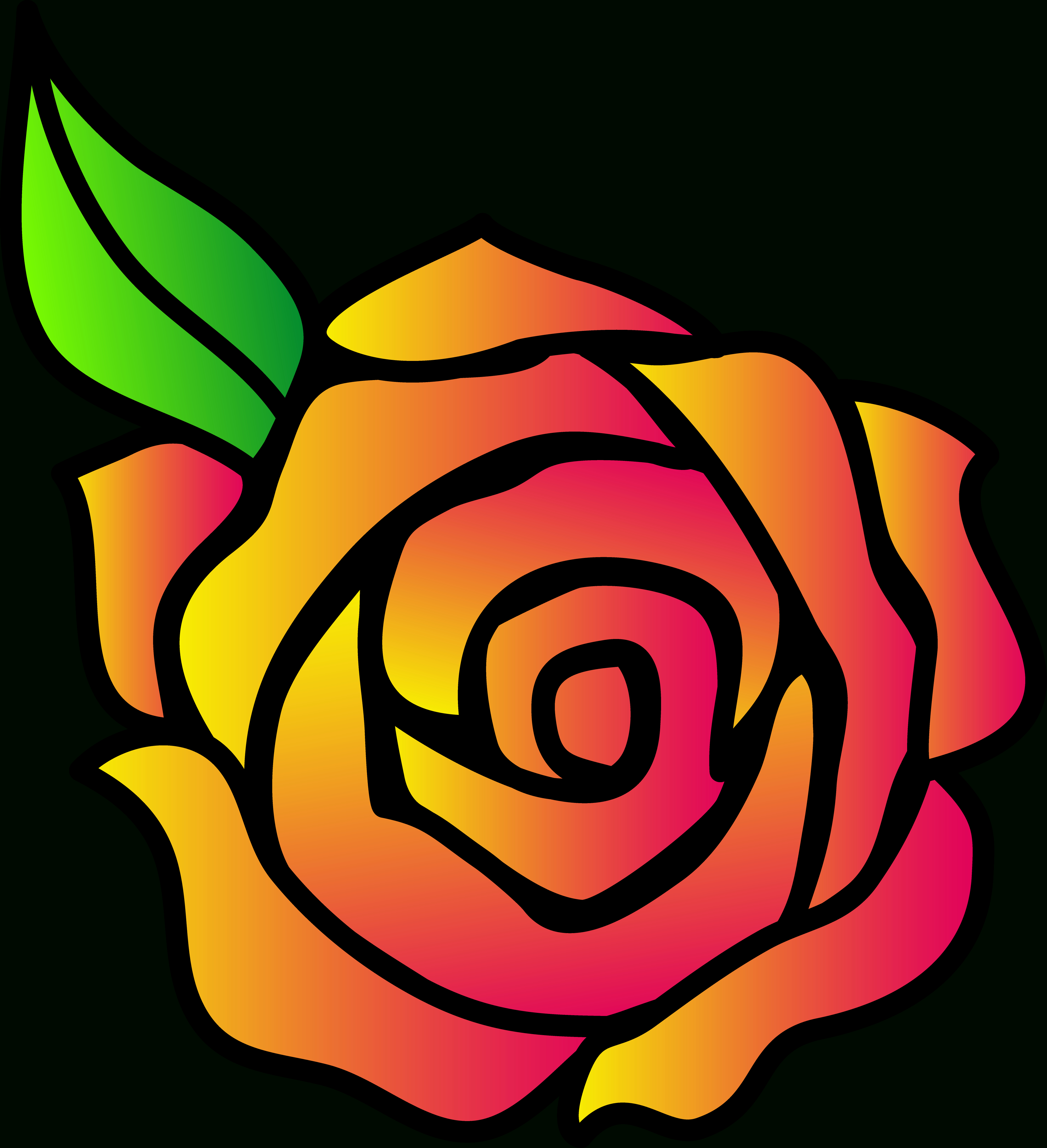 4042x4434 Cartoon Rose Drawing Pink And Yellow Hybrid Rose