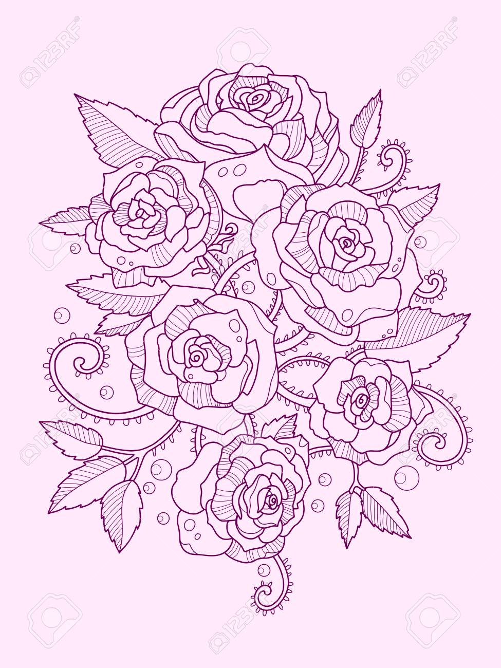975x1300 Rose Flower Color Drawing Vector Illustration. Tattoo Stencil