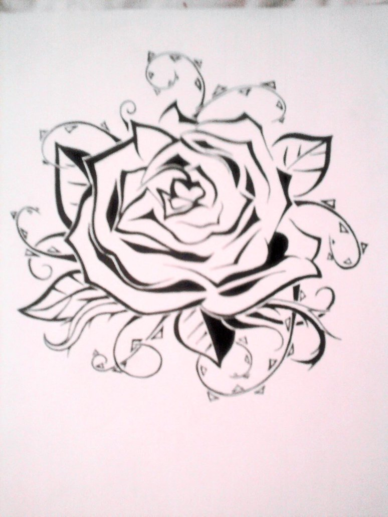 774x1032 Rose Tattoo Stencil By Emkittyart On Rose Drawing